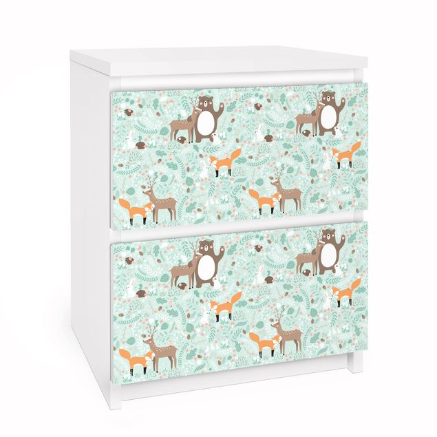 Möbelfolie für IKEA Malm Kommode - Kindermuster Forest Friends mit Waldtieren - Selbstklebefolie