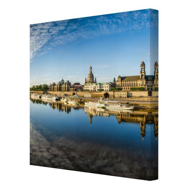 Leinwandbild - Die Weiße Flotte von Dresden - Quadrat 1:1