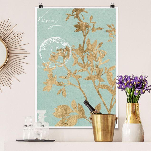 Poster - Goldene Blätter auf Turquoise II - Hochformat 3:2