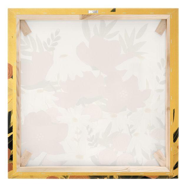 Leinwandbild Gold - Blumenvielfalt in Rosa und Weiß I - Quadrat 1:1