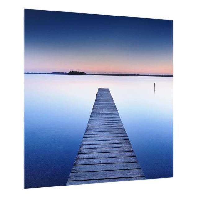 Glas Spritzschutz - Flusssteg bei Sonnenuntergang - Quadrat - 1:1