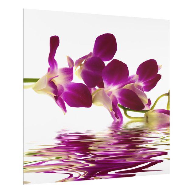 Glas Spritzschutz - Pink Orchid Waters - Quadrat - 1:1