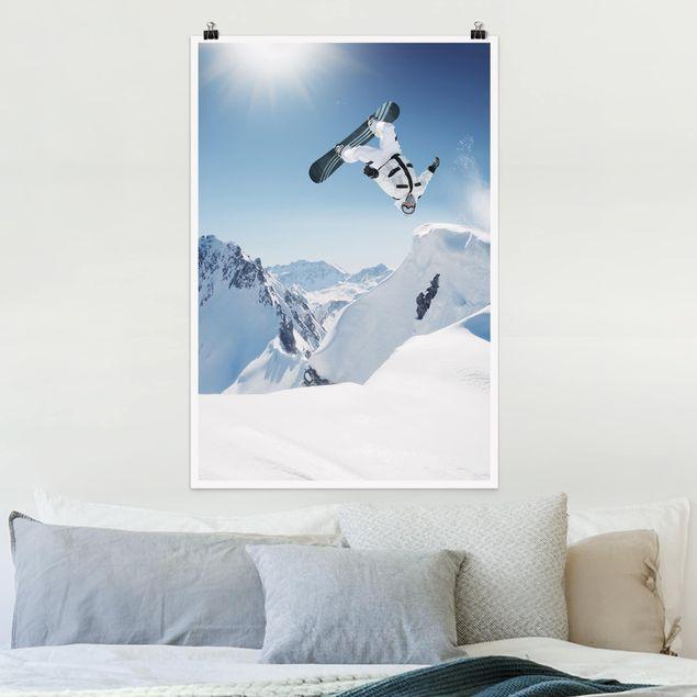 Poster - Fliegender Snowboarder - Hochformat 3:2