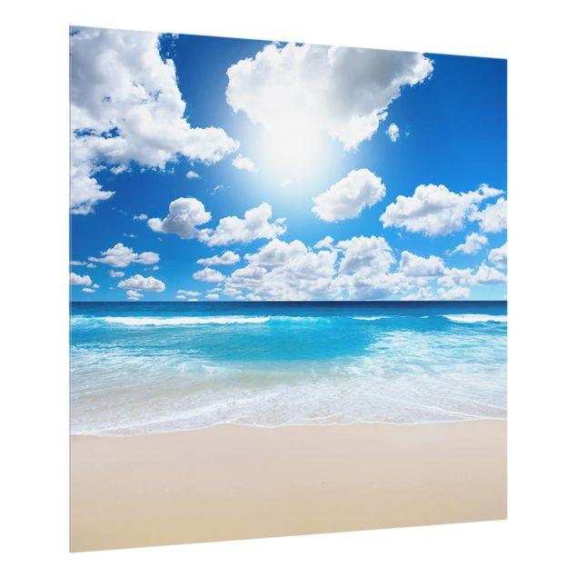 Glas Spritzschutz - Touch of paradise - Quadrat - 1:1