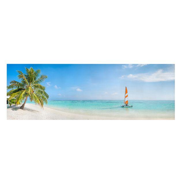 Leinwandbild - Katamaran auf dem Indischen Ozean - Panorama 3:1