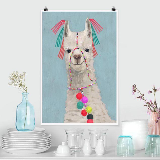 Poster - Lama mit Schmuck II - Hochformat 3:2