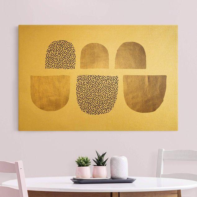 Leinwandbild Gold - Geometrischer Halbkreis III - Querformat 3:2