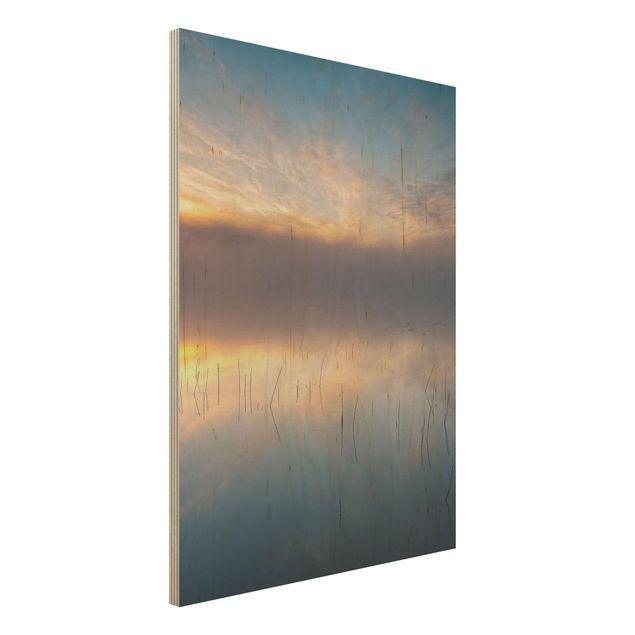 Holzbild - Sonnenaufgang schwedischer See - Hochformat 4:3