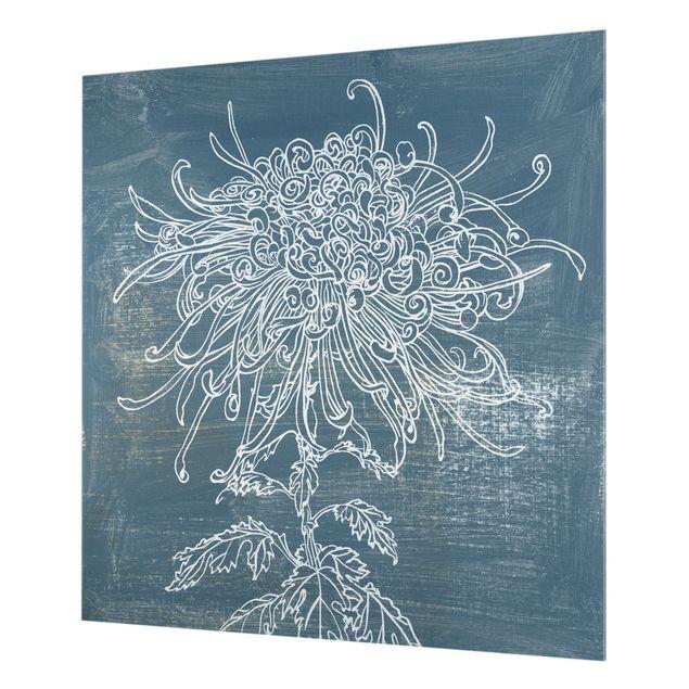 Glas Spritzschutz - Indigo-Pflanzen I - Quadrat - 1:1