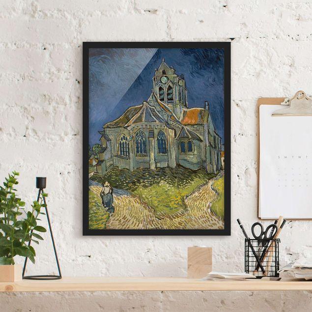 Bild mit Rahmen - Vincent van Gogh - Kirche Auvers-sur-Oise - Hochformat 3:4
