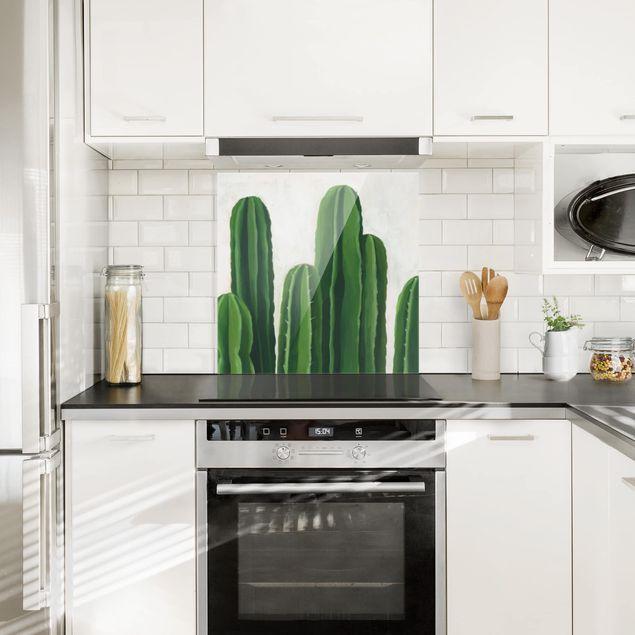 Glas Spritzschutz - Lieblingspflanzen - Kaktus - Quadrat - 1:1