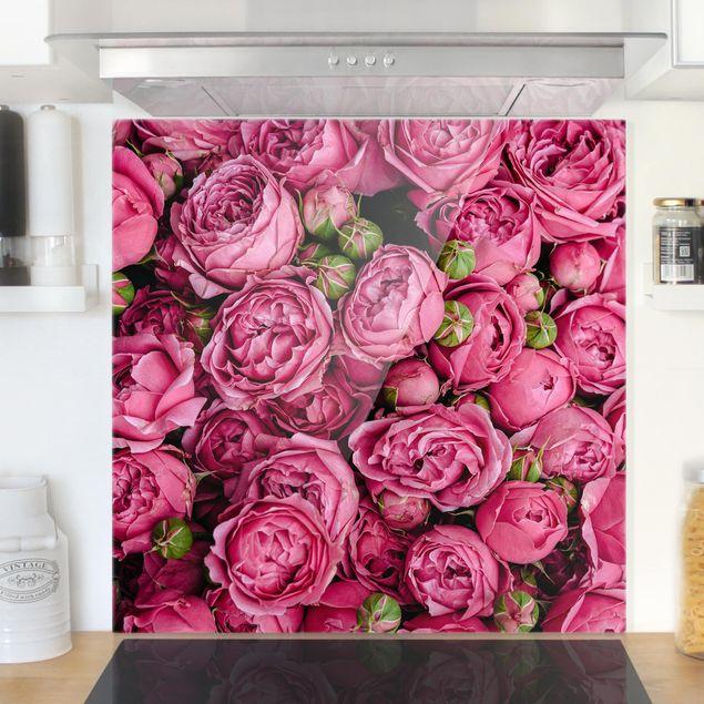 Spritzschutz Glas - Pinke Pfingstrosen - Quadrat 1:1