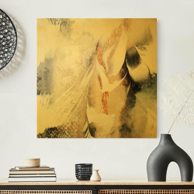 Leinwandbild Gold - Goldene abstrakte Wintermalerei - Quadrat 1:1