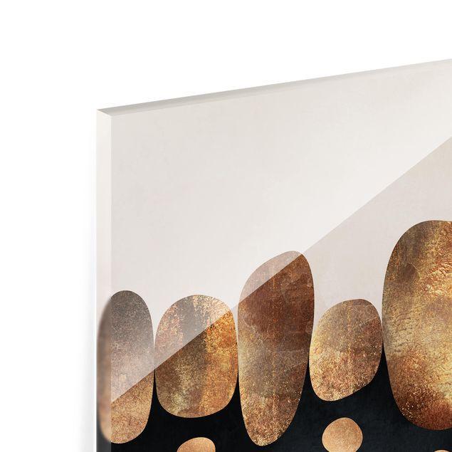 Glas Spritzschutz - Abstrakte goldene Steine - Quadrat - 1:1