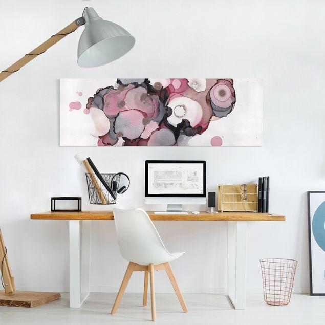 Leinwandbild - Pink-Beige Tropfen mit Roségold - Panorama 3:1