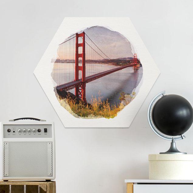 Hexagon Bild Forex - Wasserfarben - Golden Gate Bridge in San Francisco
