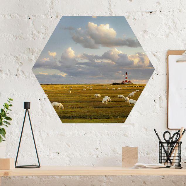 Hexagon Bild Alu-Dibond - Nordsee Leuchtturm mit Schafsherde