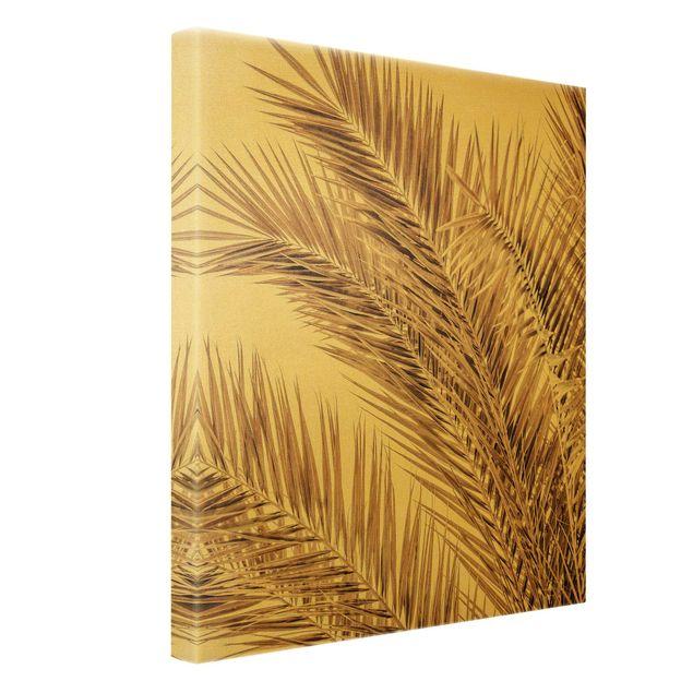 Leinwandbild Gold - Bronzefarbene Palmenwedel - Hochformat 3:4