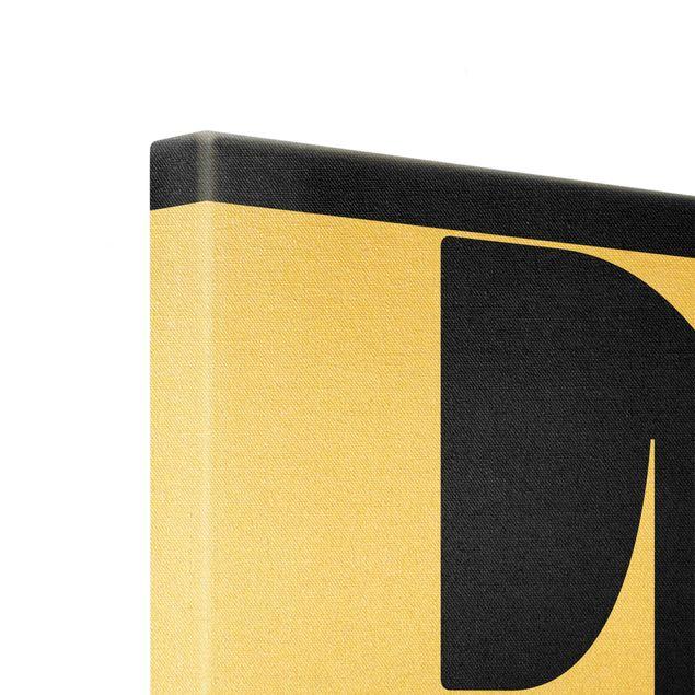 Leinwandbild Gold - Antiqua Letter E Schwarz - Quadrat 1:1
