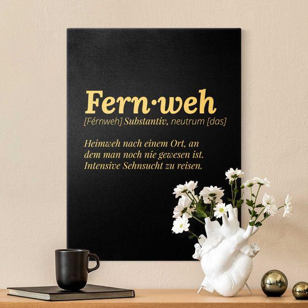 Leinwandbild Gold - Die Definition von Fernweh Schwarz - Hochformat 3:4
