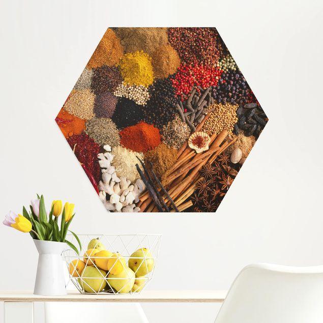 Hexagon Bild Alu-Dibond - Exotische Gewürze