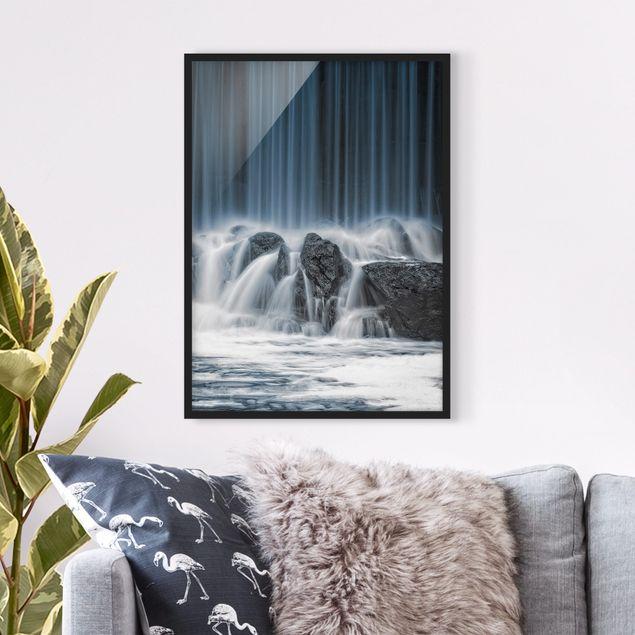 Bild mit Rahmen - Wasserfall in Finnland - Hochformat 3:4