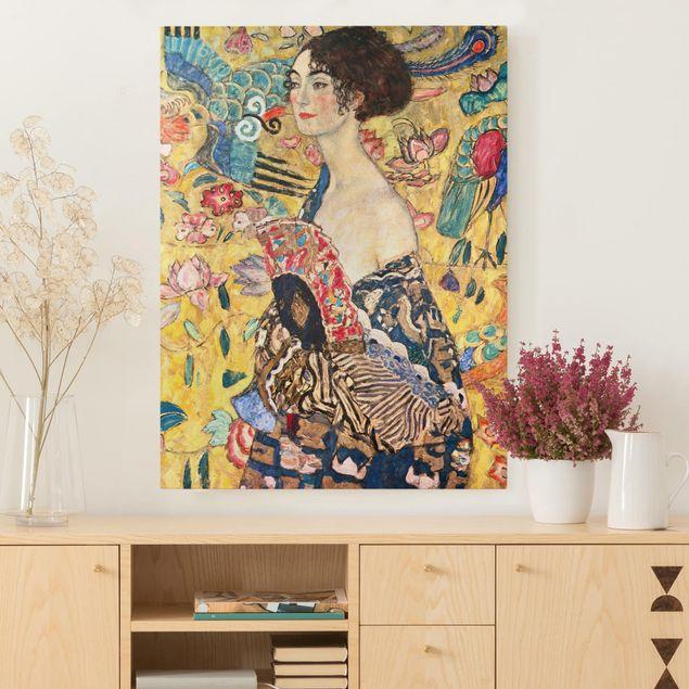 Leinwandbild - Gustav Klimt - Dame mit Fächer - Hochformat 4:3