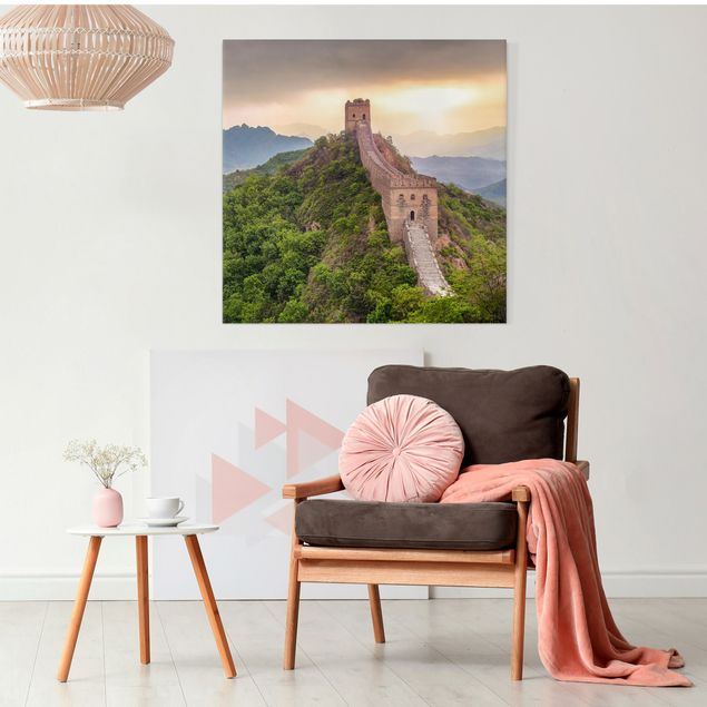 Leinwandbild - Die unendliche Mauer von China - Quadrat 1:1