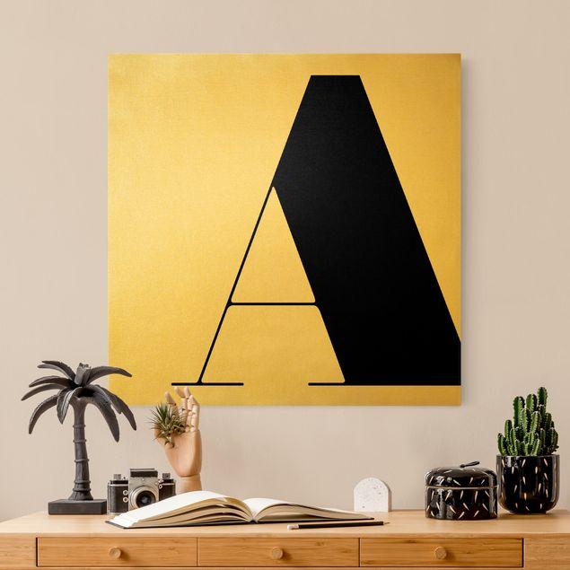 Leinwandbild Gold - Antiqua Letter A - Quadrat 1:1