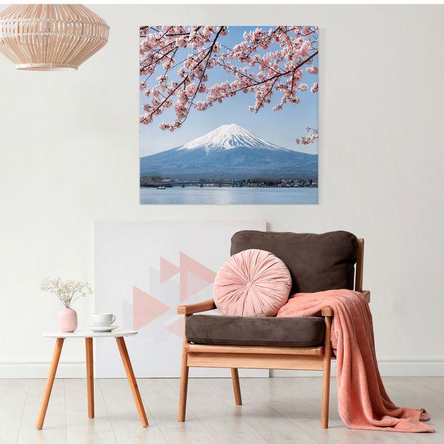 Leinwandbild - Kirschblüten mit Berg Fuji - Quadrat 1:1
