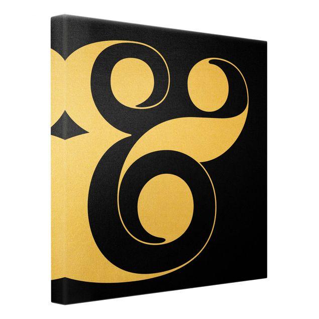 Leinwandbild Gold - Antiqua Letter & Schwarz - Quadrat 1:1
