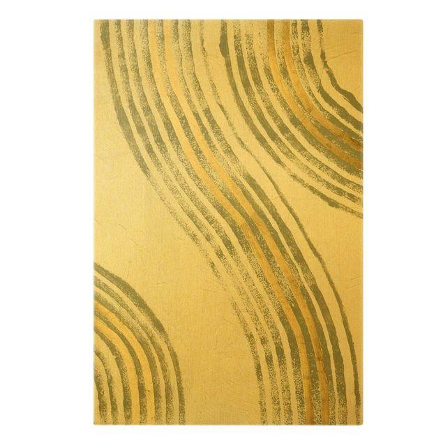 Leinwandbild Gold - Ausgehende Wellen Gold I - Hochformat 2:3