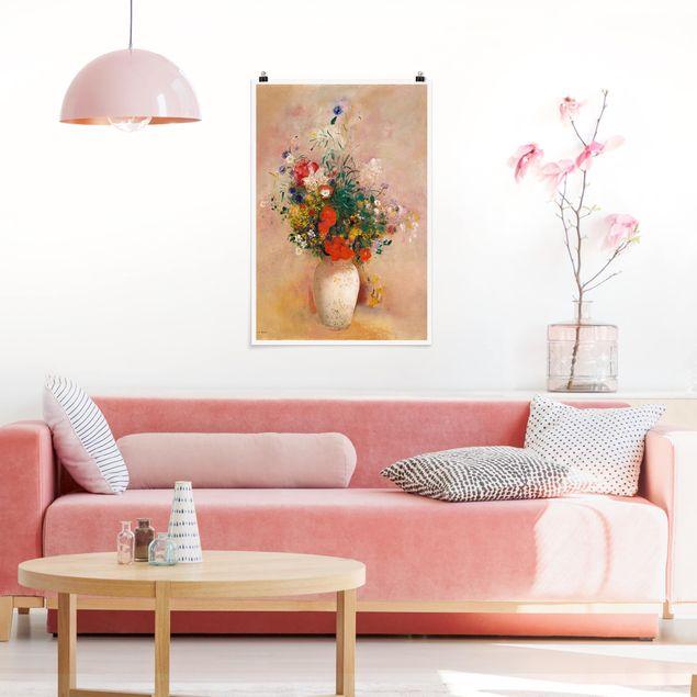 Poster - Odilon Redon - Vase mit Blumen (rosenfarbener Hintergrund) - Hochformat 3:2