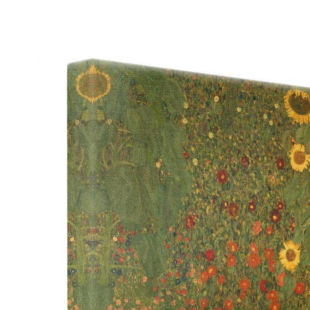 Leinwandbild Gold - Gustav Klimt - Garten Sonnenblumen - Quadrat 1:1