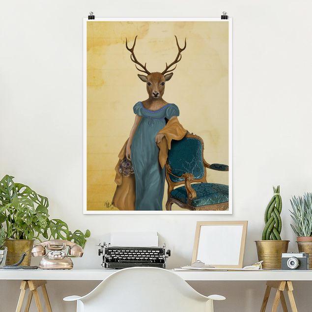 Poster - Tierportrait - Rotwilddame - Hochformat 3:4