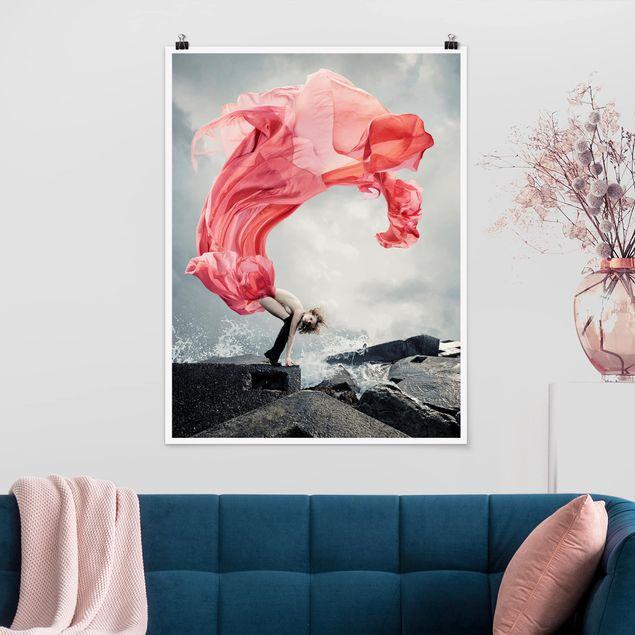 Poster - Frau am Meer - Hochformat 3:4