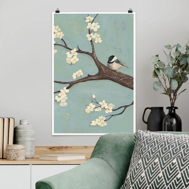 Poster - Meise auf Kirschbaum - Hochformat 3:2