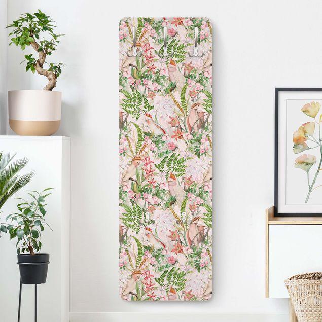 Garderobe - Rosa Kakadus mit Blumen