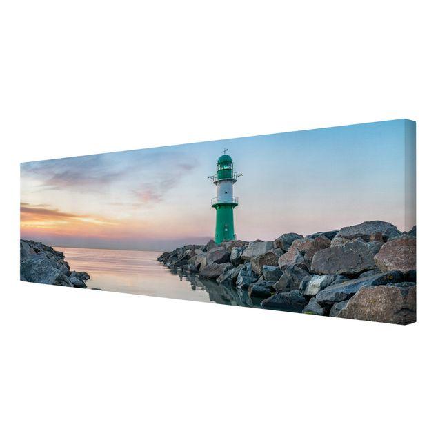 Leinwandbild - Sunset at the Lighthouse - Panorama 3:1