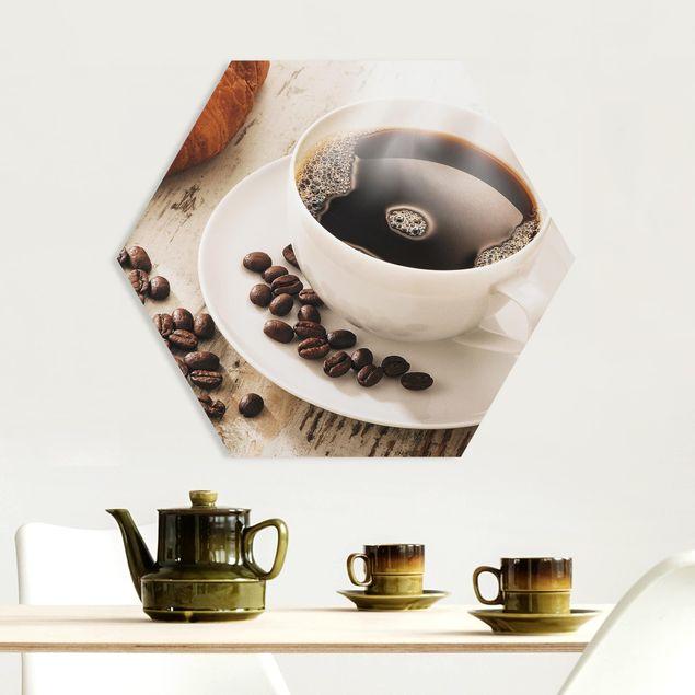 Hexagon Bild Forex - Dampfende Kaffeetasse mit Kaffeebohnen