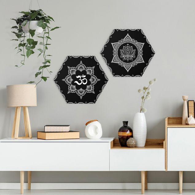 Hexagon Bild Forex 2-teilig - Lotus OM Illustration Set Schwarz