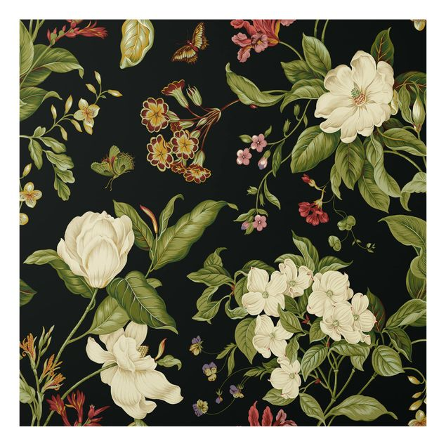 Glas Spritzschutz - Gartenblumen auf Schwarz I - Quadrat - 1:1