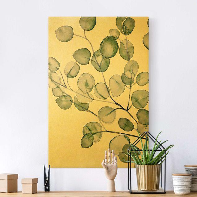 Leinwandbild Gold - Grünes Aquarell Eukalyptuszweig - Hochformat 2:3