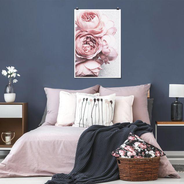 Poster - Rosa Pfingstrosenblüten Shabby Pastell - Hochformat 3:2