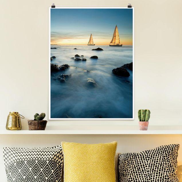 Poster - Segelschiffe im Ozean - Hochformat 3:4