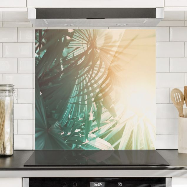 Glas Spritzschutz - Tropische Pflanzen Palmen bei Sonnenuntergang - Quadrat - 1:1