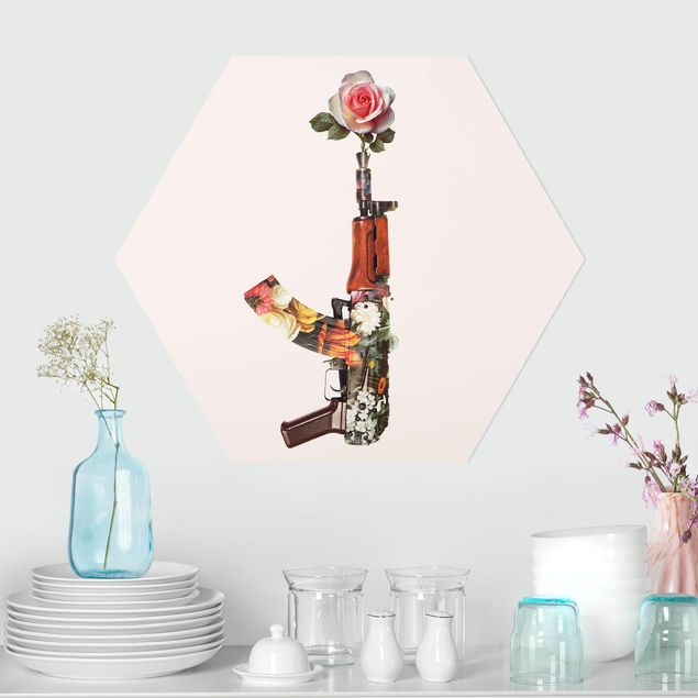 Hexagon Bild Forex - Jonas Loose - Waffe mit Rose