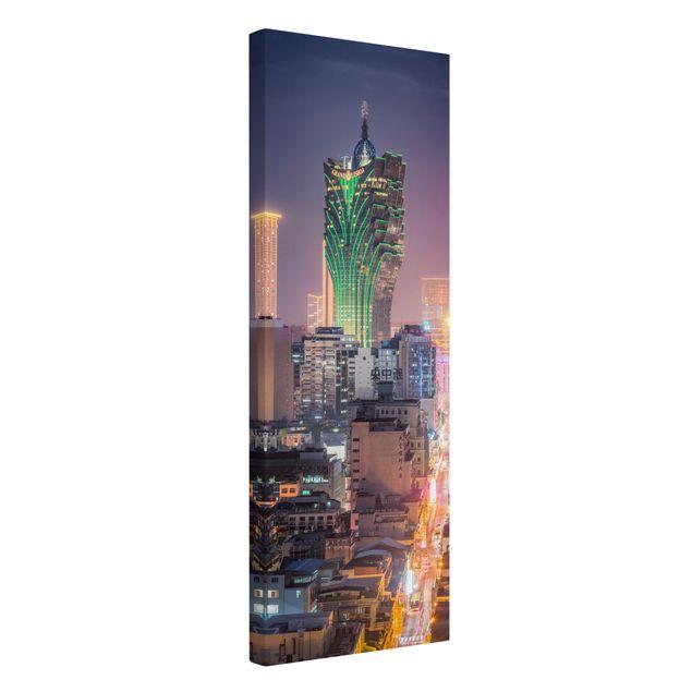 Leinwandbild - Nachtlichter von Macau - Panorama Hochformat 1:3