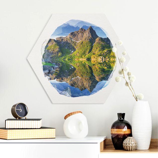 Hexagon Bild Forex - Wasserfarben - Berglandschaft mit Wasserspiegelung in Norwegen