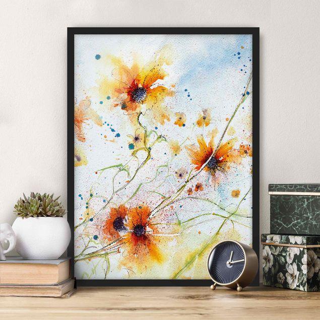 Bild mit Rahmen - Painted Flowers - Hochformat 3:4